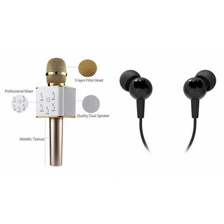 Mirza Q7 Portable Wireless Karaoke Microphone Handheld Condenser Microphone Inbuilt Speaker Microphone and Headset (C100  Headphones Devil Horn In-Ear Earphones Creative Earbuds With Mic )for HTC DESIRE 300