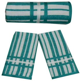 Green Striped Cotton Towels