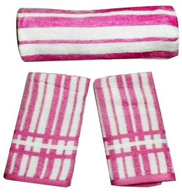 Pink Striped Cotton Towels