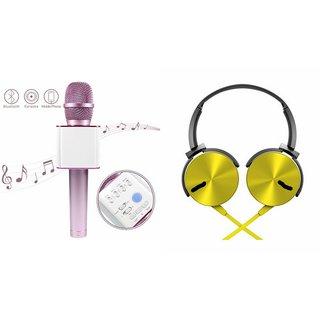 Mirza Q7 Portable Wireless Karaoke Microphone Handheld Condenser Microphone Inbuilt Speaker Microphone and Extra Extra Bass Headphone ( XB 450 ,Extra Extra Bass Headphone,Headset with Mic ,)for MOTOROLA milestone xt  800