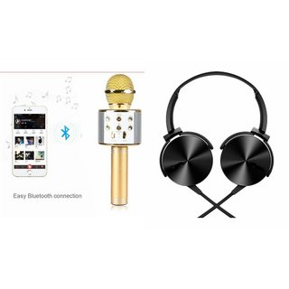 Mirza Q7 Portable Wireless Karaoke Microphone Handheld Condenser Microphone Inbuilt Speaker Microphone and Extra Extra Bass Headphone ( XB 450 ,Extra Extra Bass Headphone,Headset with Mic ,)for XOLO Q1010