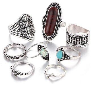 STRIPES 8 Piece Midi Finger Ring Set.