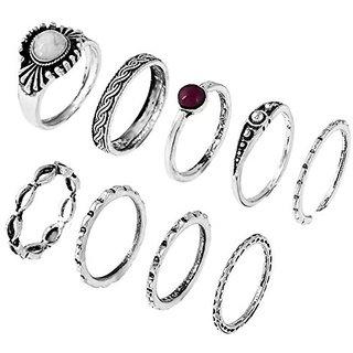STRIPES 9 Piece Midi Finger Ring Set
