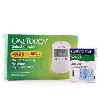 OneTouch Select Simple Blood Glucometer with 10 Test Strips