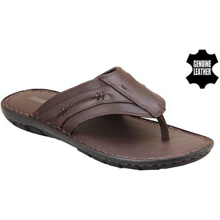 MyWalk Mens Leather Brown Open Casual Slipper