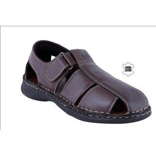 MyWalk Mens Leather Brown Velcro Formal  Sandal