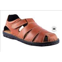 MyWalk Mens Leather Tan Velcro Formal  Sandal