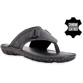 MyWalk Mens Leather Black Open Casual Slipper