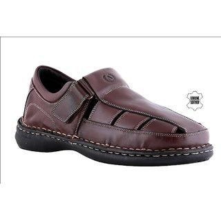 d7584bfc1b19 Buy MyWalk Mens Leather Brown Velcro Formal Sandal Online - Get 50% Off