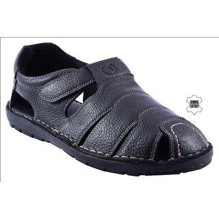 MyWalk Mens Leather Black Velcro Formal  Sandal