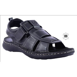 MyWalk Mens Leather Black Velcro Formal  Sandal