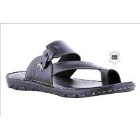 MyWalk Mens Leather Black Slip On Casual Sandal