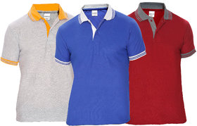 Baremoda Men's Blue, Grey & Maroon Plain Cotton Blend Polo Collar T-Shirts