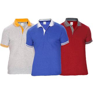 Buy Baremoda Men s Polo T Shirt Blue Grey Maroon Combo Pack of 3 ... 3a93c957406