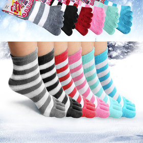 DDH Toe Socks 1pair Soft Striped Ladies Women Girls Size 9-11 Fun Color Style