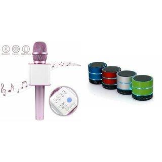 Mirza Q7 Portable Wireless Karaoke Microphone Handheld Condenser Microphone Inbuilt Speaker Microphone and bluetooth speaker (S10 Speaker ,Wireless LED Bluetooth Speaker S10 Handfree with Calling Functions & FM Radio , Assorted Colour)for PANASONIC ELUGA