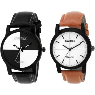 Gen Z GENZ-CO-SOC-BRO-0001 combo of 2 youth chess and brown minimalist watches