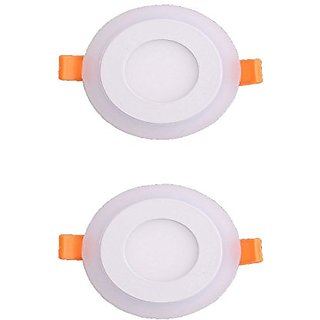 Galaxy 6 watt (3+3) LED Round Panel Light Ceiling POP Down Indoor Light LED 3D Effect Lighting (Double Color)White  Blu