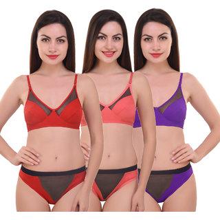 Buy Wekay lifestyle Nylon Multicolor Bra Pantie Set Combo Pack of 3 ... 05a7b6d1a