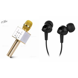 Clairbell Q7 Portable Wireless Karaoke Microphone Handheld Condenser Microphone Inbuilt Speaker Microphone and Headset (C100 BASS Headphones Devil Horn In-Ear Earphones Creative Earbuds With Mic )for GIONEE S5.1 PRO
