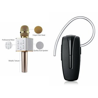 Roar Q7 Portable Wireless Karaoke Microphone Handheld Condenser Microphone Inbuilt Speaker Microphone and Bluetooth Headset (HM 1100 Bluetooth Headset, Wireless Music Bluetooth Headset With Mic)for SAMSUNG GALAXY J 1 ACE