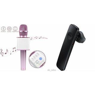 Roar Q7 Portable Wireless Karaoke Microphone Handheld Condenser Microphone Inbuilt Speaker Microphone and Bluetooth Headset (HM 1100 Bluetooth Headset, Wireless Music Bluetooth Headset With Mic)for SAMSUNG GALAXY CORE PRIME VE