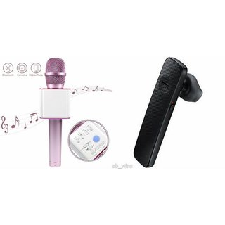 Roar Q7 Portable Wireless Karaoke Microphone Handheld Condenser Microphone Inbuilt Speaker Microphone and Bluetooth Headset (HM 1100 Bluetooth Headset, Wireless Music Bluetooth Headset With Mic)for SAMSUNG GALAXY A5