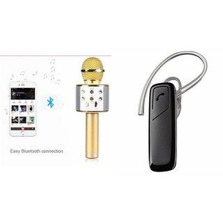 Roar Q7 Portable Wireless Karaoke Microphone Handheld Condenser Microphone Inbuilt Speaker Microphone and Bluetooth Headset (HM 1100 Bluetooth Headset, Wireless Music Bluetooth Headset With Mic)for SAMSUNG G 9198