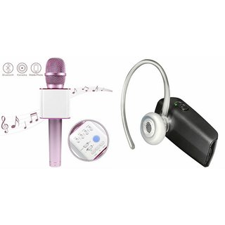 Roar Q7 Portable Wireless Karaoke Microphone Handheld Condenser Microphone Inbuilt Speaker Microphone and Bluetooth Headset (HM 1100 Bluetooth Headset, Wireless Music Bluetooth Headset With Mic)for SAMSUNG GALAXY CORE ADVANCE