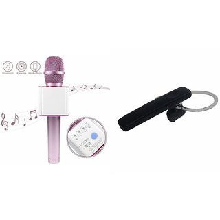 Roar Q7 Portable Wireless Karaoke Microphone Handheld Condenser Microphone Inbuilt Speaker Microphone and Bluetooth Headset (HM 1100 Bluetooth Headset, Wireless Music Bluetooth Headset With Mic)for REDMI