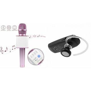 Roar Q7 Portable Wireless Karaoke Microphone Handheld Condenser Microphone Inbuilt Speaker Microphone and Bluetooth Headset (HM 1100 Bluetooth Headset, Wireless Music Bluetooth Headset With Mic)for SAMSUNG GALAXY CORE MINI 4 G