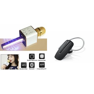 Roar Q7 Portable Wireless Karaoke Microphone Handheld Condenser Microphone Inbuilt Speaker Microphone and Bluetooth Headset (HM 1100 Bluetooth Headset, Wireless Music Bluetooth Headset With Mic)for ASUS ZENFONE 2 DELUXE