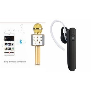 Roar Q7 Portable Wireless Karaoke Microphone Handheld Condenser Microphone Inbuilt Speaker Microphone and Bluetooth Headset (HM 1100 Bluetooth Headset, Wireless Music Bluetooth Headset With Mic)for REDMI NOTE 2