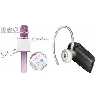 Roar Q7 Portable Wireless Karaoke Microphone Handheld Condenser Microphone Inbuilt Speaker Microphone and Bluetooth Headset (HM 1100 Bluetooth Headset, Wireless Music Bluetooth Headset With Mic)for Oppo F1s