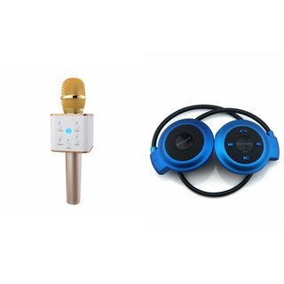 Roar Q7 Portable Wireless Karaoke Microphone Handheld Condenser Microphone Inbuilt Speaker Microphone and Bluetooth Headset (Mini 503 Bluetooth Headset,Wireless Bluetooth Headphone Stereo Support SD Card , Music With Built-In Microphone & TF Cart Slot)for
