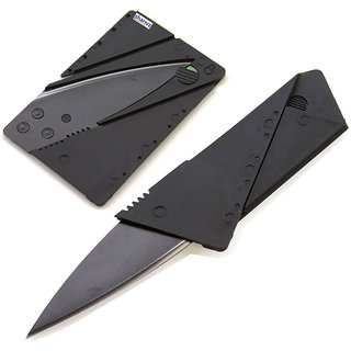 Credit Card Sized Folding Knife Tool Campers Knife  (Black)-1 Pc.