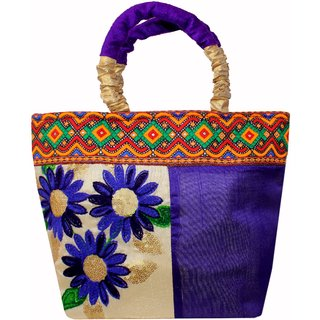 Milans Creation Ethnic Silk Handbag Kashmiri Fl Embroidery With Velvet Handles Clutch Wedding Bag Purse Blue