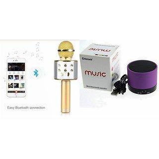 Roar Q7 Portable Wireless Karaoke Microphone Handheld Condenser Microphone Inbuilt Speaker Microphone and bluetooth speaker (S10 Speaker ,Wireless LED Bluetooth Speaker S10 Handfree with Calling Functions & FM Radio , Assorted Colour)for XOLO CUBE 5.0
