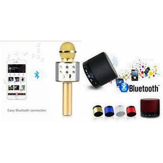 Roar Q7 Portable Wireless Karaoke Microphone Handheld Condenser Microphone Inbuilt Speaker Microphone and bluetooth speaker (S10 Speaker ,Wireless LED Bluetooth Speaker S10 Handfree with Calling Functions & FM Radio , Assorted Colour)for LG L60 DUAL