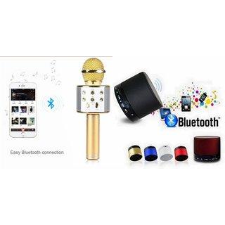 Roar Q7 Portable Wireless Karaoke Microphone Handheld Condenser Microphone Inbuilt Speaker Microphone and bluetooth speaker (S10 Speaker ,Wireless LED Bluetooth Speaker S10 Handfree with Calling Functions & FM Radio , Assorted Colour)for GIONEE S PLUS