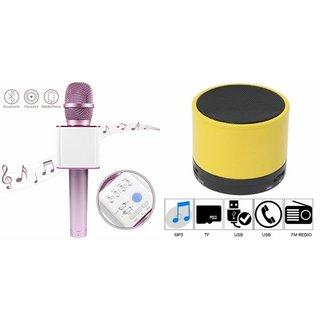 Roar Q7 Portable Wireless Karaoke Microphone Handheld Condenser Microphone Inbuilt Speaker Microphone and bluetooth speaker (S10 Speaker ,Wireless LED Bluetooth Speaker S10 Handfree with Calling Functions & FM Radio , Assorted Colour)for OPPO R9