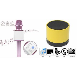 Roar Q7 Portable Wireless Karaoke Microphone Handheld Condenser Microphone Inbuilt Speaker Microphone and bluetooth speaker (S10 Speaker ,Wireless LED Bluetooth Speaker S10 Handfree with Calling Functions & FM Radio , Assorted Colour)for REDMI 2A