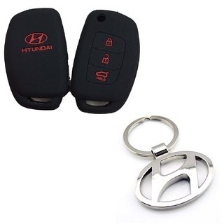 CP Bigbasket Silicon Key Cover With Metal Key Chain For Hyundai Cars New i 20/ New Verna/ Xcent
