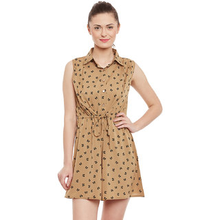 Opalinas print shirt collar sleeveless poly crepe Regular Fit Short Dress