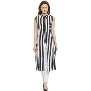 Opalinas stripe shirt collar sleeveless rayon Slim Fit long tunic