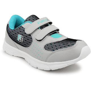 Fuel Womens Girls Grey SeaGreen Laced Up Walking Running Shoes