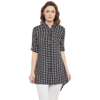 Opalinas checks shirt collar Full Sleeve rayon Regular Fit tunic