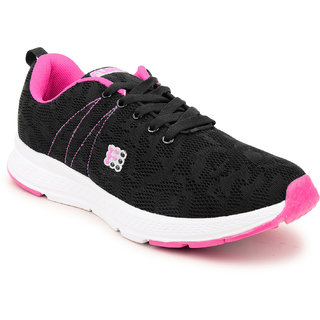 Fuel Womens Girls Black Pink Laced Up Walking Running Shoes