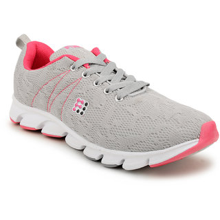 Fuel Womens Girls Grey Pink Laced Up Walking Running Shoes