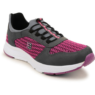 Fuel Women's Girls Grey Purple Laced Up Walking Running Shoes